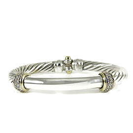 David Yurman Metro Cable Vintage Bracelet Sterling Silver 18K Yellow Gold with 0.42tcw Diamond