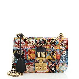 Christian Dior Peace and Love Dioraddict Flap Bag Embroidered and Beaded Leather Small