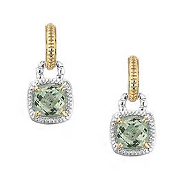 Charles Krypell 14k Yellow Gold and Sterling Silver Green Amethyst Earrings
