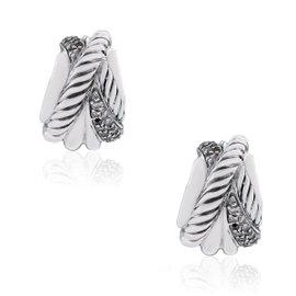 David Yurman 925 Sterling Silver Diamonds Crossover Earrings