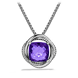 David Yurman Sterling Silver & Amethyst Pendant Necklace