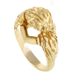 David Webb 18K Yellow Gold Carved Band Ring Size 12.0