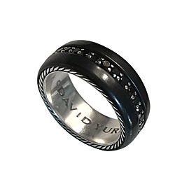 David Yurman Black Titanium and Sterling Silver 1.36 Ct Black Diamond Ring Size 9.5