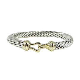 David Yurman Sterling Silver 14K Yellow Gold 7mm Thoroughbred Buckle Bracelet