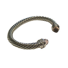 David Yurman Cable Classics Sterling Silver with Morganite & 0.48ct Diamonds Bracelet