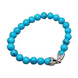 David Yurman Sterling Silver and Turquoise Spiritual Beads Bracelet