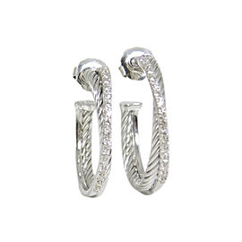 David Yurman Crossover Sterling Silver Pave 0.49ctw Diamonds Medium Hoop Earrings