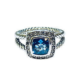 David Yurman Petite Albion Sterling Silver Blue Topaz and 0.17ctw Diamonds Ring Size 5.5