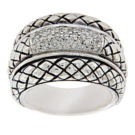 Scott Kay 925 Sterling Silver & Diamonds Basket Weave Ring Size 6.75