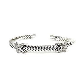 David Yurman Sterling Silver 18K White Gold .50tcw Pave Diamond XX Bracelet