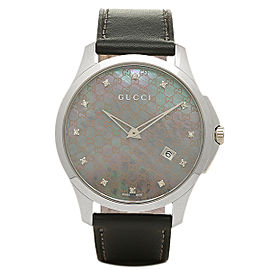 Gucci G-Timeless YA126307 Stainless Steel Mother of Pearl Diamond Dial 40mm Watch