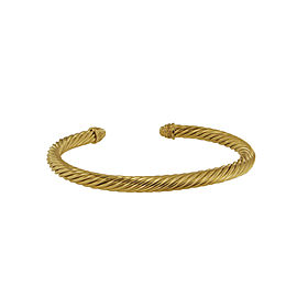 David Yurman Cable Yellow Gold Bracelet with Diamonds 5mm