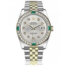 Women's Rolex 31mm Datejust Vintage Diamond Bezel with Emeralds Two Tone Silver Color Diamond Dial