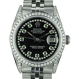Rolex Datejust 16014 Stainless Steel Black Dial Custom Emeralds and Diamonds Automatic Vintage 36mm Mens Watch