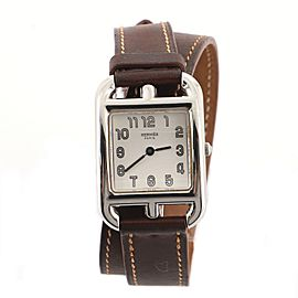 Hermes Cape Cod Double Tour Quartz Watch Stainless Steel and Leather 23