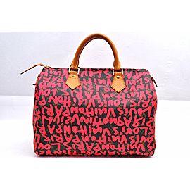 Louis Vuitton Monogram Graffiti Speedy Hand Bag Pink M93704 LV 98133