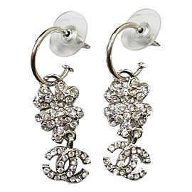 Chanel CC Silver Tone Camellia Rhinestone Loop Piercing Earrings
