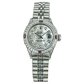 Rolex Datejust Stainless Steel with Mother Of Pearl Dial and Diamond Bezel Vintage 26mm Womens Watch