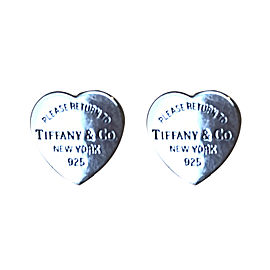 RARE! medium size Tiffany & Co. Sterling Silver Heart Tag Earrings