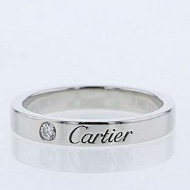 CARTIER 950 platinum C de Cartier Wedding 1P diamond Ring LXGoods-281(US 5.25)