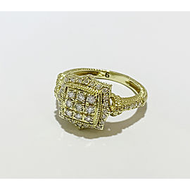 Judith Ripka 18K Gold Square Diamond Pavé Ring