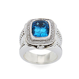 Scott Kay 925 Sterling Silver Diamonds & Blue Topaz Ring Size 6.5