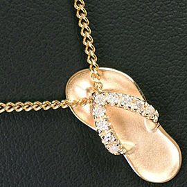 Sandal motif 18k yellow gold/14k Yellow Gold/diamond Necklace