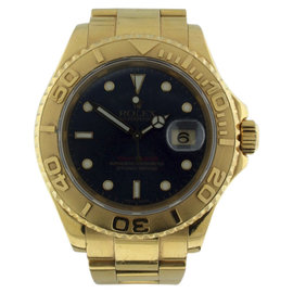 Rolex Yachtmaster 18K Yellow Gold With Blue Dial Diamonds Mens Watch