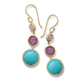 Ippolita Lollipop 18K Yellow Gold with Amethyst and Turquoise Earrings