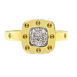 Roberto Coin Pois Moi Square 18K Yellow Gold and 0.11ct. Diamond Ring Size 6.5