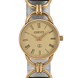 GUCCI 6000 Gold Dial GP/Leather Quartz Ladies Watch