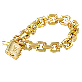 Louis Vuitton 18K Yellow Gold Padlock & Key Bracelet