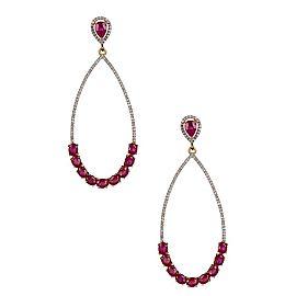18K Gold Diamond & Ruby Dangle Earring