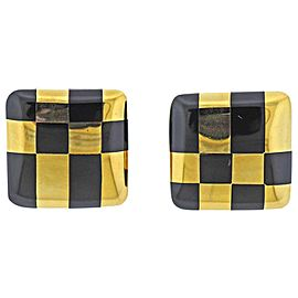 Tiffany & Co. Black Jade Inlay Gold Earrings