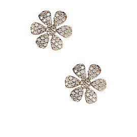 14k Gold Rose-Cut Diamond Flower Stud Earring