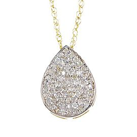 14k Gold Rose-Cut Diamond Pear Shape Pendant Necklace with Chain