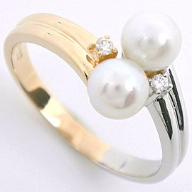 TASAKI 18k yellow gold/Pt900Platinum/diamond Pearl Ring