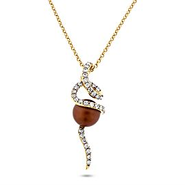 LeVian 14k Yellow Gold 0.65ct. Chocolate Diamond and Cultured Brown Pearl Pendant Necklace