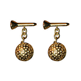 Deakin & Francis 18K Yellow Gold Golf Ball and Tee Cufflinks