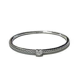 David Yurman Silver Diamond Heart Cable Bangle Bracelet