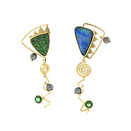 18K Yellow Gold Multi-Gemstone Dangle Earrings