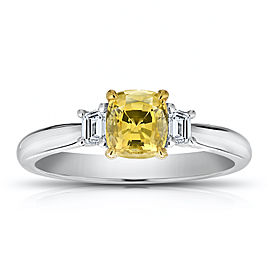 Platinum 18K Yellow Gold 1.11ct. Sapphire 0.26ctw. Diamond Ring Size 7