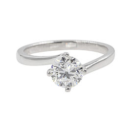 18K White Gold with 0.90ct Diamond Solitaire Twisted Engagement Ring Size 6