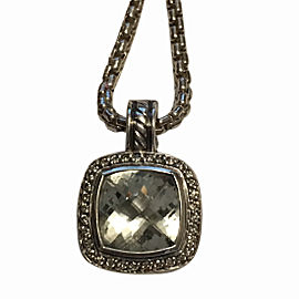 David Yurman Albion 925 Sterling Silver Prasiolite & Diamond Pendant Necklace