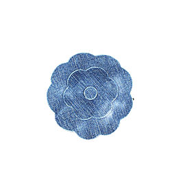 Chanel Camelia Blue Denim Flower Brooch