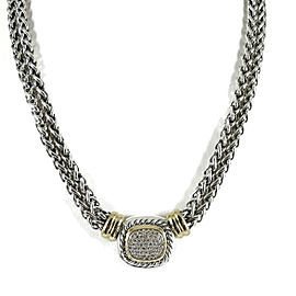 David Yurman Sterling Silver 18K Yellow Gold 2-Row Pave Diamond Albion Wheat Chain Necklace