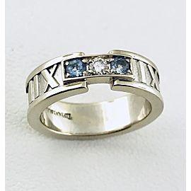 Tiffany & Co. Atlas 18K White Gold Aquamarine Diamond Ring Size 5.5