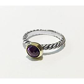 Vintage Rare David Yurman Gold & Sterling Amethyst Ring