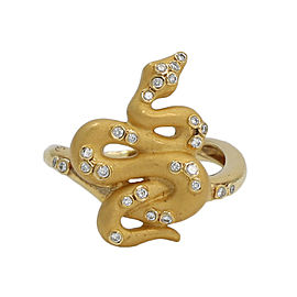 Carrera y Carrera 18K Yellow Gold and Diamond Snake Ring Size 6