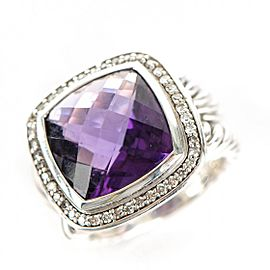 David Yurman Albion Sterling Silver Amethyst 0.31ctw Diamond Ring Size 6.5